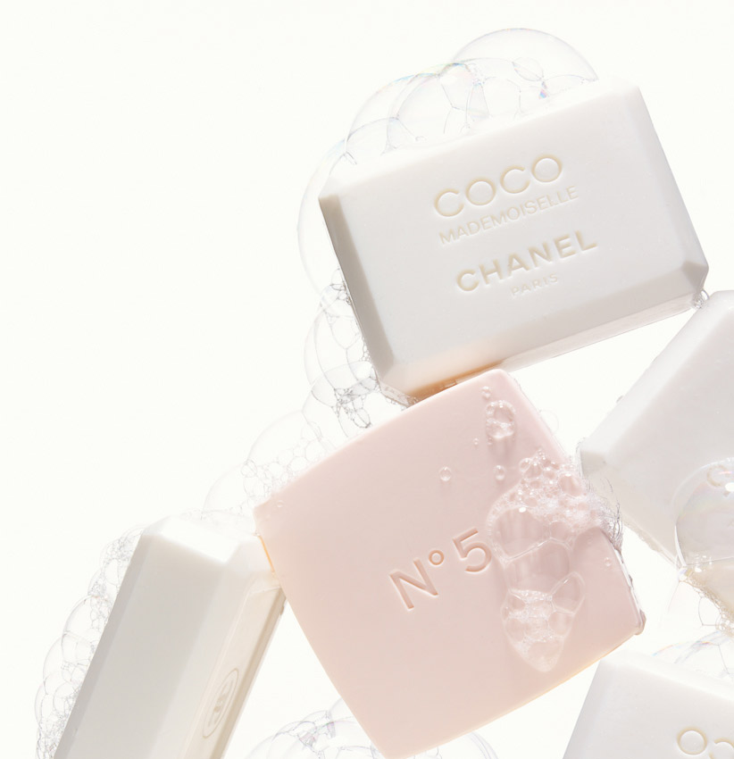 beauty, soaps, Chanel, Coco Mademoiselle, No 5, bubbles, still life photography, fragrance photographer, still-life photography, David Parfitt, still-life, perfume photography, beauty still life, still-life photographer, still-life photographer London, David Parfitt, advertising photographer