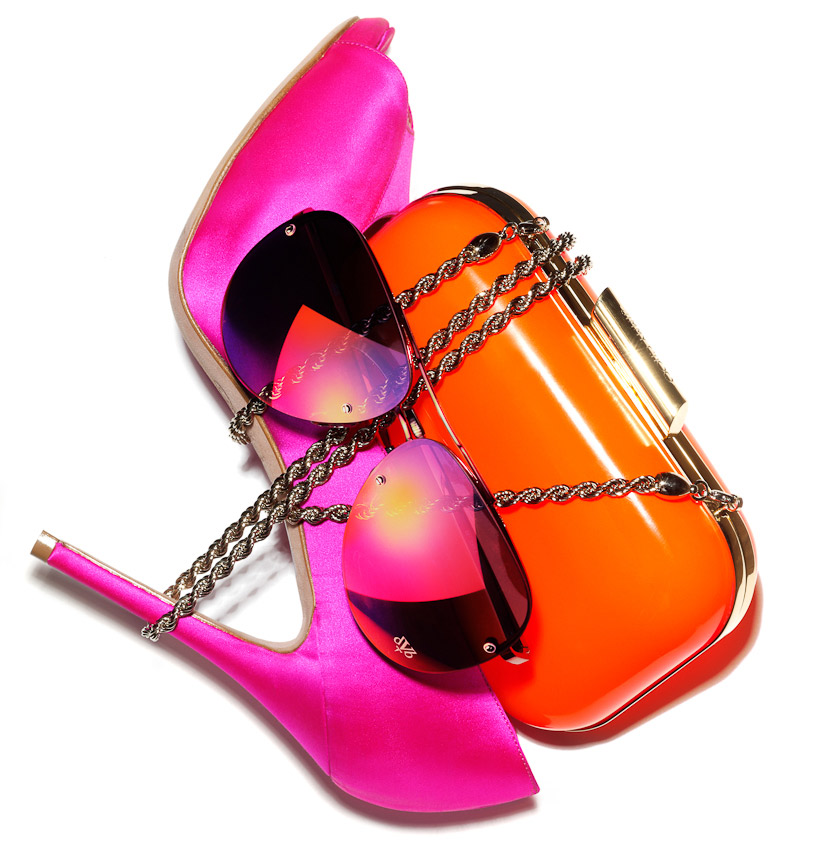 fashion accessories, shoe, handbag, sunglasses, pink and orange, sunglasses and dandle wrapped in the chain of a bag, women's fashion accessories, still life photography, handbag photography, fashion accessories photographer, still-life photography, David Parfitt, still-life, fashion accessories, still-life photographer, still-life photographer London, David Parfitt, advertising photographer