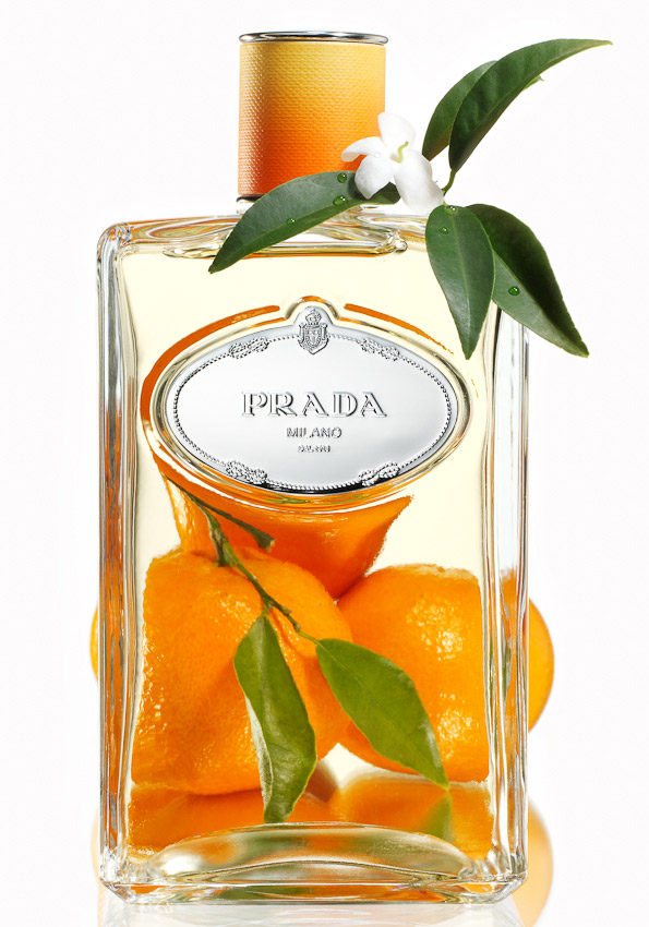 fragrance, Prada perfume bottle, oranges, orange blossom, still life, photography, David Parfitt, still-life, fragrance photography, fragrance still life, perfume photography, still-life photographer, still-life photographer London, David Parfitt, advertising photographer