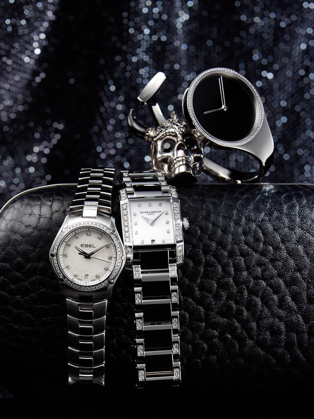 watches and handbag still life, black and silver, skull, McQueen, luxury accessories, watch photographer, luxury mens and women's accessories photography, handbag photography,  still-life photography, David Parfitt, still-life, still-life photography, still-life photographer, still-life photographer London, David Parfitt, advertising photographer