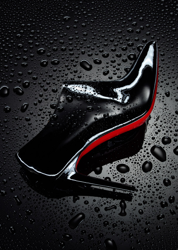 christian louboutin, still life, boot, shoe, water droplets, red soul, accessories, boots, stiletto patient books with water droplets,  shoes, still life, David Parfitt, womens shoes, photography, women's fashion accessories photography, footwear photography,  fashion accessories photographer, still-life photography, David Parfitt, still-life, fashion accessories, still-life photographer, still-life photographer London, David Parfitt, advertising photographer