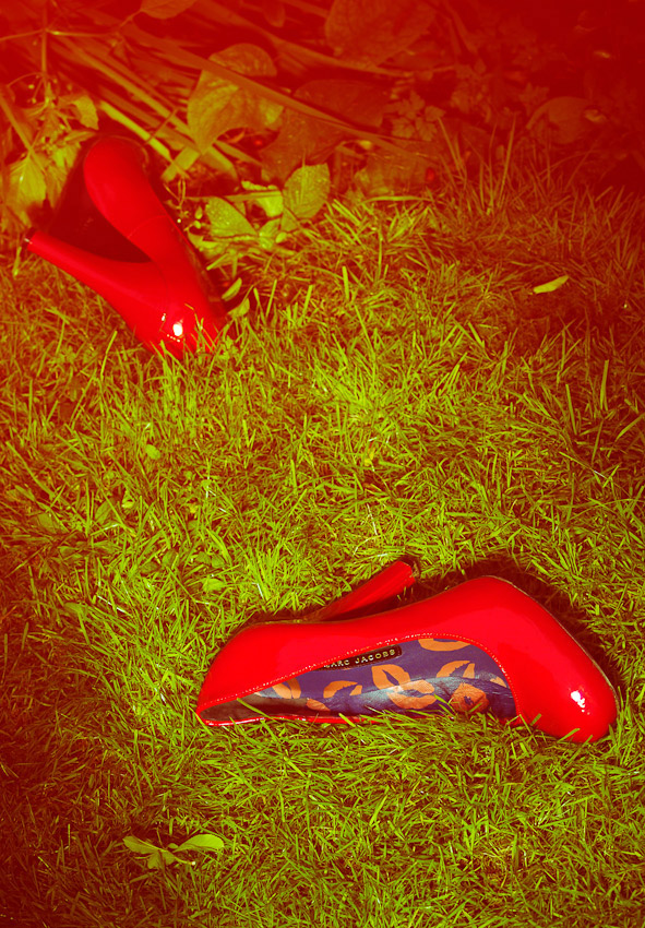 fashion accessories, red shoes on grass, Marc Jacobs, womens footwear, shoes, photography, David Parfitt, fashion accessories photography, women's fashion accessories, still life photography, footwear photography,  fashion accessories photographer, still-life photography, David Parfitt, still-life, fashion accessories, still-life photographer, still-life photographer London, David Parfitt, advertising photographer