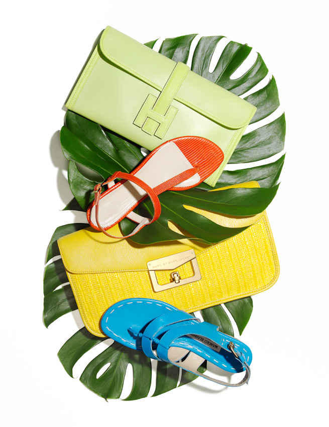shoes, handbags, palm leaves, still-life, still-life photographer, still-life photography, still-life photographer London, fashion accessories, fashion accessories still life, fashion accessories photographer, David Parfitt