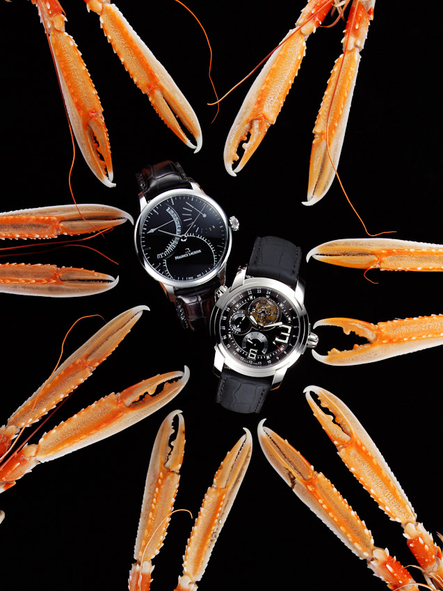 watches and claws, langoustines, crab, lobster, Square Meal watches and Jewellery,  luxury accessories, watch photographer, luxury mens and women's accessories photography, time piece photography,  still-life photography, David Parfitt, still-life, still-life photography, still-life photographer, still-life photographer London, David Parfitt, advertising photographer