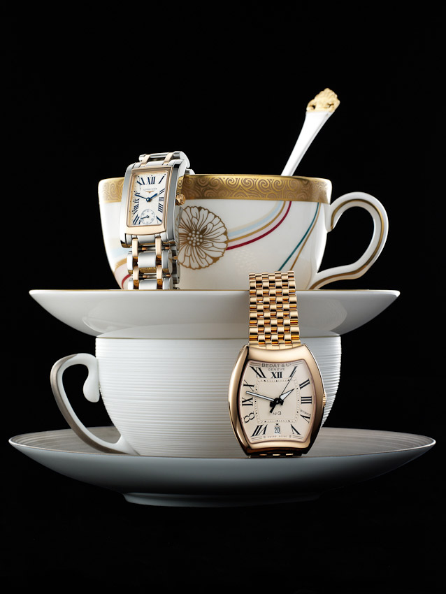 watches and jewellery, still life, watches on a teacup and saucer, David Parfitt, luxury accessories, watch photographer, luxury mens and women's accessories photography, time piece photography,  still-life photography, David Parfitt, still-life, still-life photography, still-life photographer, still-life photographer London, David Parfitt, advertising photographer