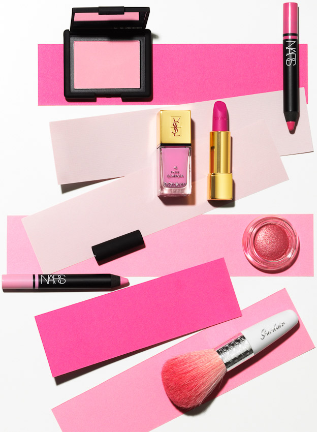 beauty and make up, pink make up products on pink strips of paper, still life by David Parfitt, make up, make up photography, beauty still life, beauty product photographer, beauty product photography, pink make up product photography, still-life photographer, still-life photographer London, David Parfitt, advertising photographer