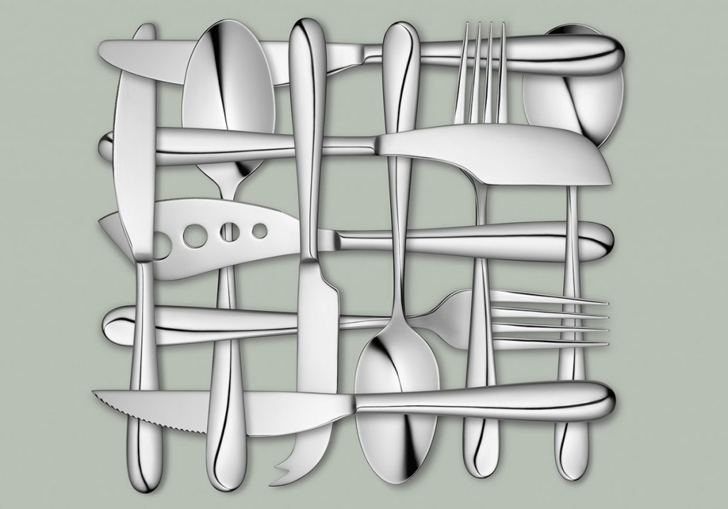 John Lewis cutlery, cutlery weave, silver cutlery woven together on a green background, still life photography, David Parfitt, still-life, still-life photography, still-life photographer, still-life photographer London, David Parfitt, advertising photographer