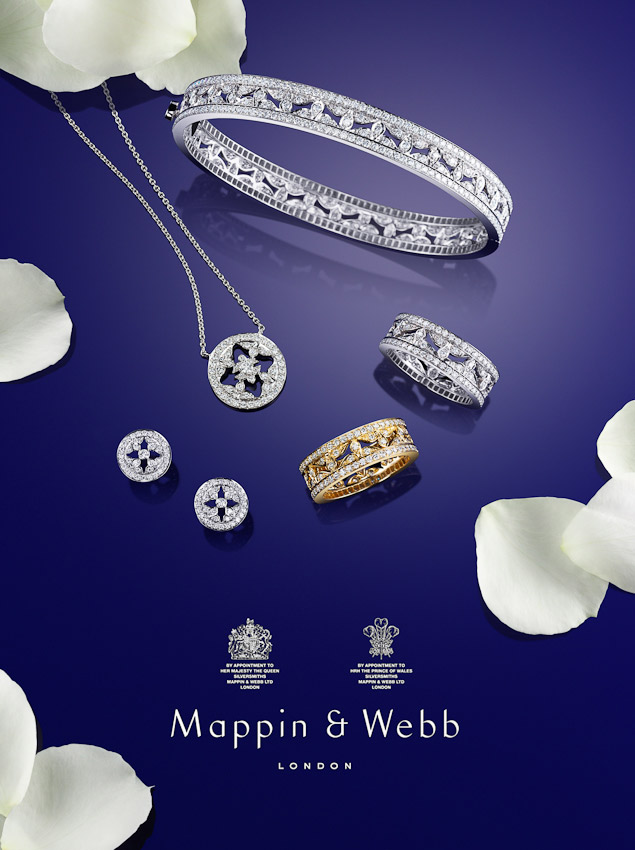 Mappin and Webb advertising campaign, fine jewellery photography, diamond necklace, bracelet a d rings, watches and jewellery, luxury accessories, jewellery photography, luxury women's accessories photography, still-life photography, David Parfitt, still-life, still-life photography, still-life photographer, still-life photographer London, David Parfitt, advertising photographer