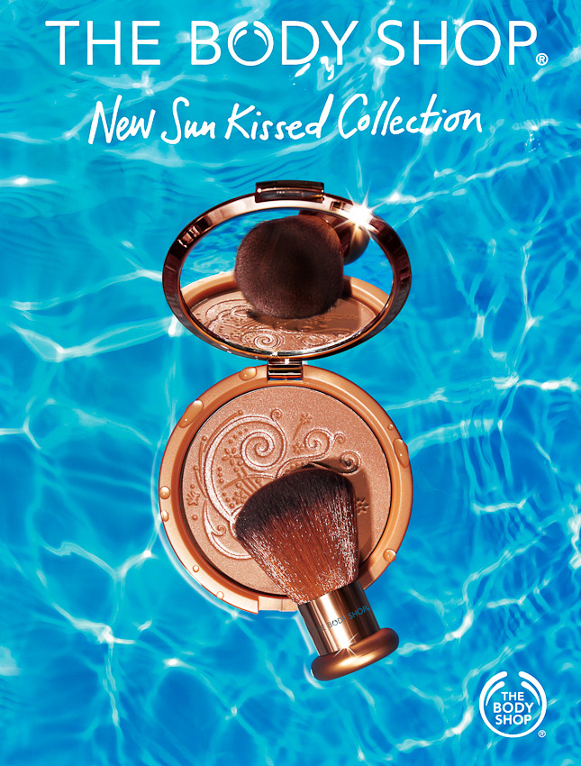 The Body Shop campaign, bronzer floating in a swimming pool, water photography, liquid photography, beauty product photography, beauty still life, still life photography, David Parfitt, still-life, still-life photography, still-life photographer, still-life photographer London, David Parfitt, advertising photographer