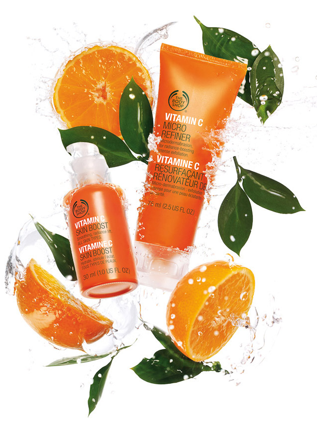 Body shop vitamin C product range campaign with water and oranges, still life by David Parfitt, beauty, beauty product photography, beauty still life, beauty product photographer, make up photography, skincare photography, still-life photographer, still-life photographer London, David Parfitt, advertising photographer