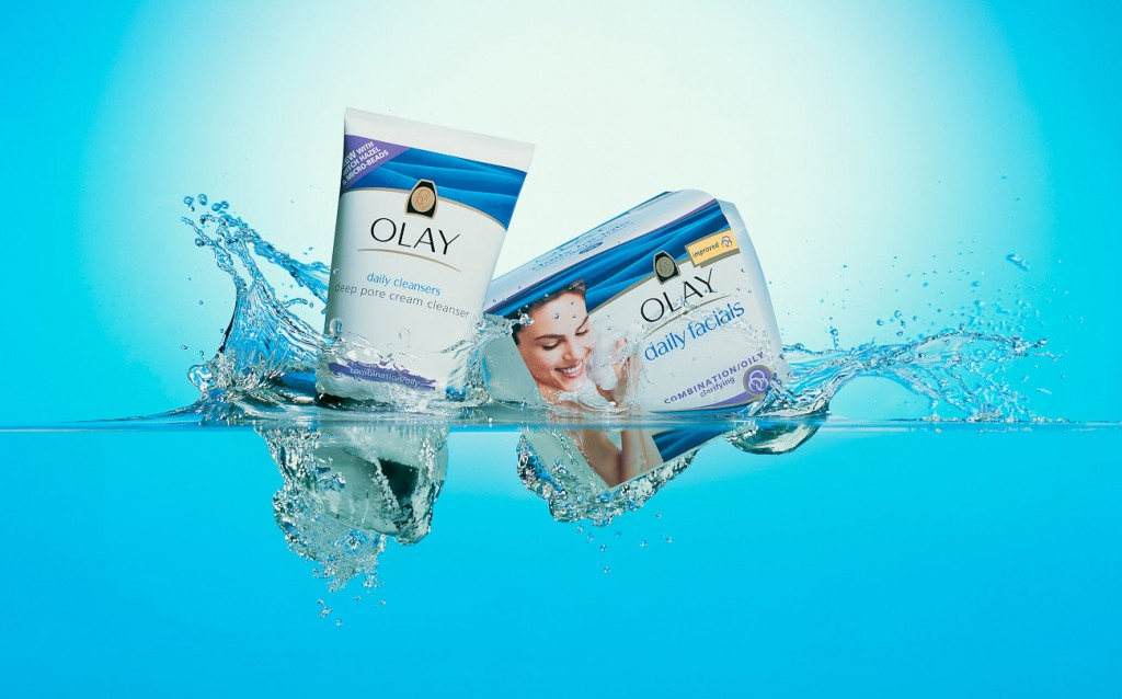 Olay daily facials campaign, products falling into water, underwater still life, underwater photography, underwater photographer, product photography, beauty product photography, beauty photographer, water photography, still life photography, David Parfitt, still-life, still-life photography, still-life photographer, still-life photographer London, David Parfitt, advertising photographer