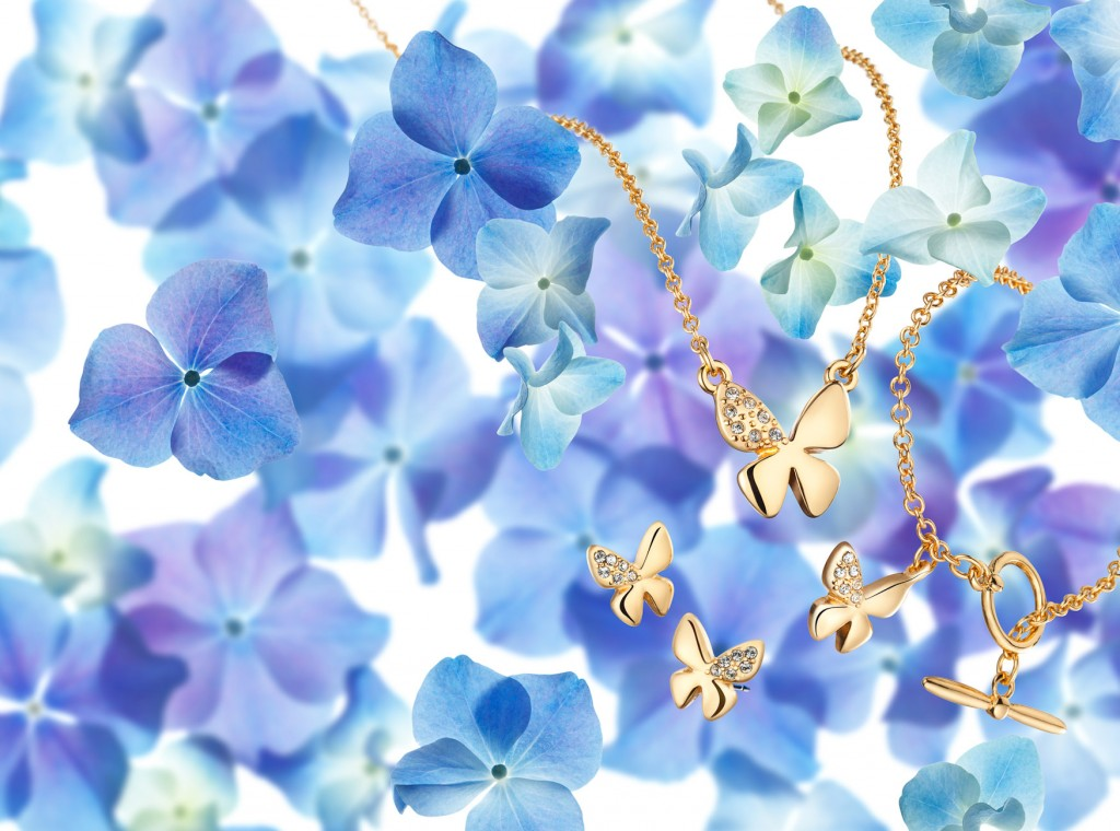 still-life photography, jewellery against blue flowers background, Avon campaign, Avon jewellery, Jewellery photographer, jewellery photography, fine jewellery, still-life photographer London, David Parfitt Photographer, advertising photographer