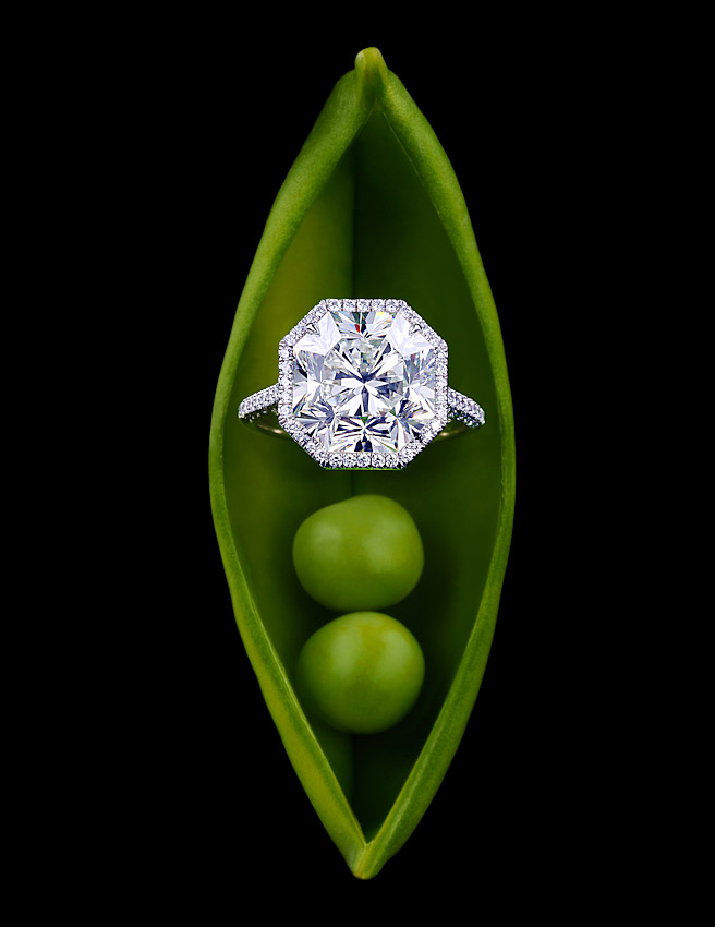 Diamond Jewellery , Tiffany Jewellers,diamond ring in pea pod,  diamonds, Tatler promotions, Tatler magazine ,David Parfitt still-life photographer, still-life photography, still-life photographer London, jewellery photographer, jewellery photography