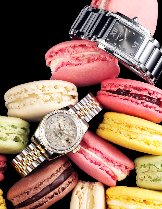 watches and macaroons, cakes, Square Meal watches and jewellery, luxury accessories, watch photographer, luxury mens and women's accessories photography, handbag photography,  still-life photography, David Parfitt, still-life, still-life photography, still-life photographer, still-life photographer London, David Parfitt, advertising photographer