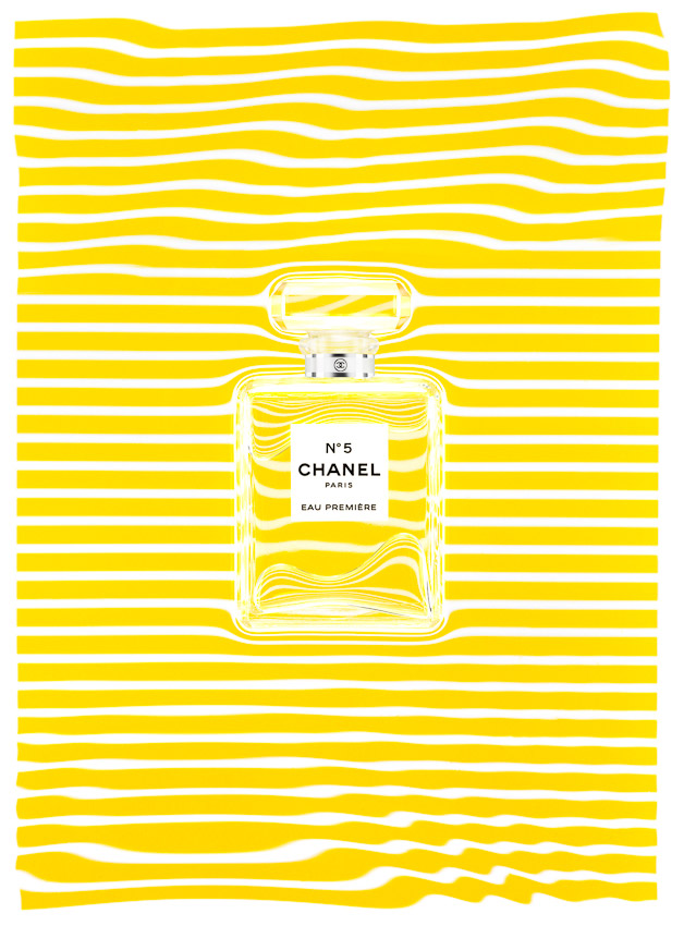 Chanel No 5 fragrance, perfume, Chanel Chance fragrance , Perfume bottles against pink and yellow stripes, underwater photography,  creative photography, still-life photographer, still-life photography, still-life photographer London, cosmetics photographer, cosmetics and fragrance photographer, David Parfitt