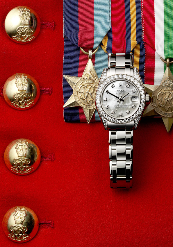 Rolex watch on military uniform,  , Tatler promotions, Tatler photographer,David Parfitt,  still-life photographer, still-life photography, still-life photographer London, jewellery photographer, watch  photography