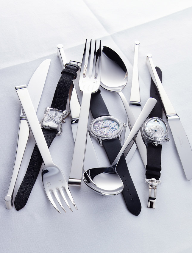 watches and jewellery, still life, watches with cutlery, watches with knives and forks, David Parfitt, luxury accessories, watch photographer, luxury mens and women's accessories photography, time piece photography,  still-life photography, David Parfitt, still-life, still-life photography, still-life photographer, still-life photographer London, David Parfitt, advertising photographer