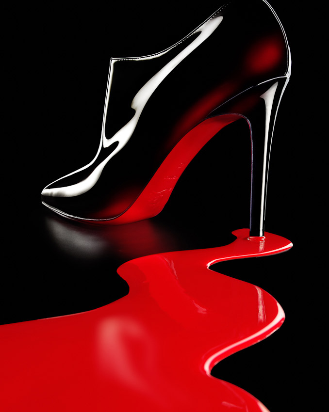 christian louboutin, red soul, accessories, boots, stilettos in a river of red paint,  shoes, still life, David Parfitt, womens shoes, photography, women's fashion accessories photography, footwear photography,  fashion accessories photographer, still-life photography, David Parfitt, still-life, fashion accessories, still-life photographer, still-life photographer London, David Parfitt, advertising photographer