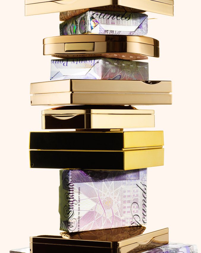 cosmetics wrapped in £20 notes, beauty products with money, beauty products, still-life, still-life photography, still-life photographer, beauty still-life, beauty product photography, beauty product photographer London, David Parfitt