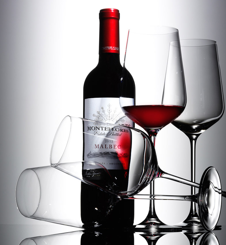 red wine and glasses, malbec bottle, wine photography, food and drink photographer, still life photography, David Parfitt, still-life, still-life photography, still-life photographer, still-life photographer London, David Parfitt, advertising photographer