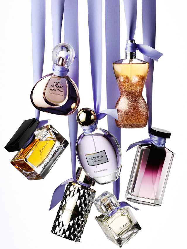 fragrance, perfumes on ribbons, perfume bottles, perfume bottles hanging on ribbons, still life, photography, David Parfitt, still-life, perfume bottle photography, fragrance still life, fragrance photography, perfume photography, still-life photographer, still-life photographer London, David Parfitt, advertising photographer