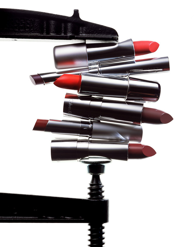 beauty, beauty, make up, lipsticks in a clamp, still life by David Parfitt, creative beauty photography, beauty product photography, beauty still life, beauty product photographer, make up photography, nail varnish photography, still-life photographer, still-life photographer London, David Parfitt, advertising photographer