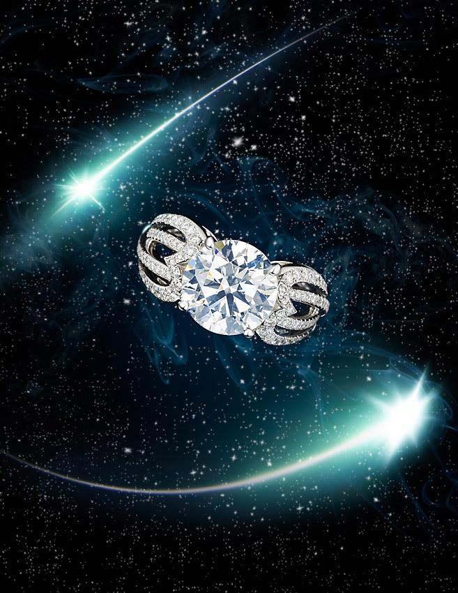 Diamond Jewellery , De Beers Jewellers,diamond ring with shooting stars,  diamonds, Tatler promotions, Tatler magazine ,David Parfitt still-life photographer, still-life photography, still-life photographer London, jewellery photographer, jewellery photography