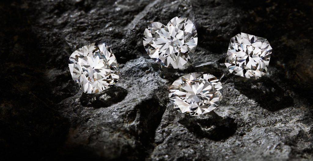 fancy diamond shapes on black rocks